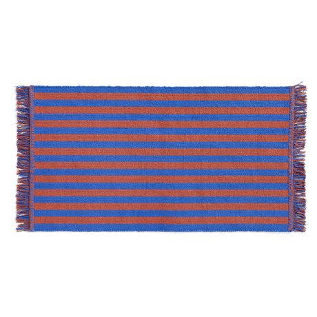 HAY Deurmat Stripes And Stripes Small Oranje Blauw Katoen 95x52cm