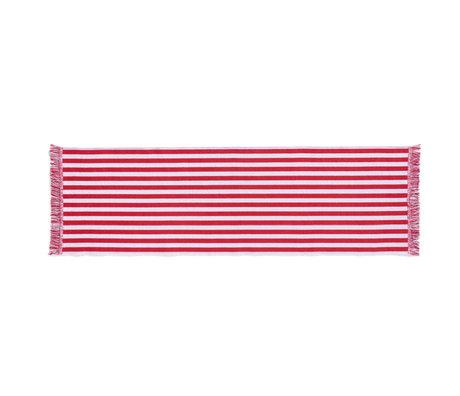 HAY Vloerkleed Stripes And Stripes Rood Wit Katoen 200x60cm