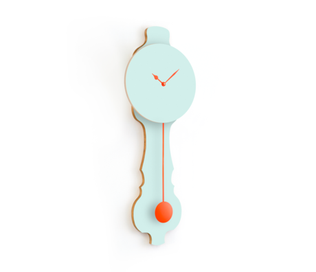 KLOQ Klok Face Mint Groen small  Neon Oranje Hout 20,4x6x59cm