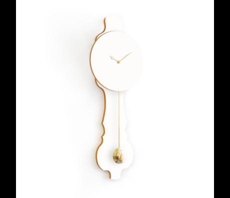 KLOQ Zifferblatt Pure White Shiny Gold Wood 20,4x6x59cm