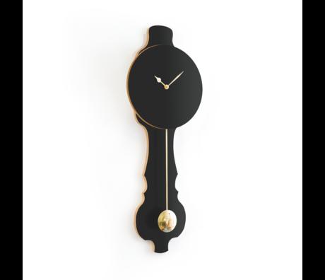 KLOQ Clock Face Shiny Gold Wood 26.2x8x75.5
