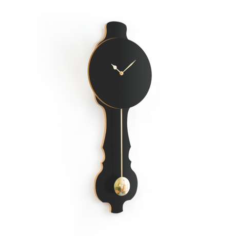 KLOQ Klok Face Zwart large Shiny Gold Hout 26,2x8x75,5cm