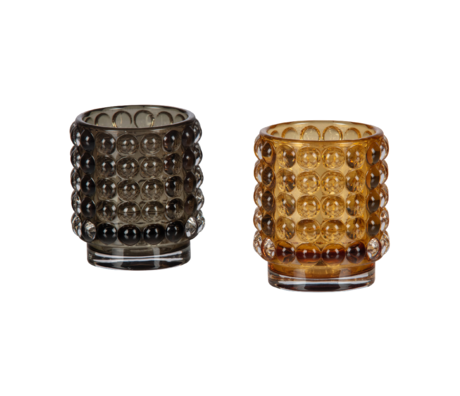 BePureHome Tealight holder Bumble set of 2 Multicolor Glass Ø7x8cm