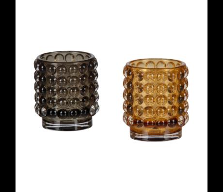 BePureHome Teelichthalter Hummelset mit 2 mehrfarbigen Gläsern Ø7x8cm
