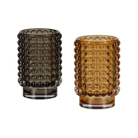 BePureHome Teelichthalter Hummelset mit 2 mehrfarbigen Gläsern Ø8x13cm