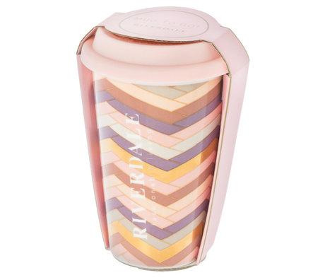 Riverdale Mok to go Magnifique roze keramiek 10x9x14cm
