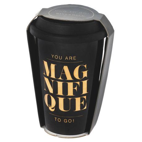 Riverdale Mok to go Magnifique zwart keramiek 10x9x14cm