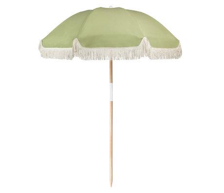 LEF collections Parasol beach luxe groen katoen hout kunststof 170x170x150cm