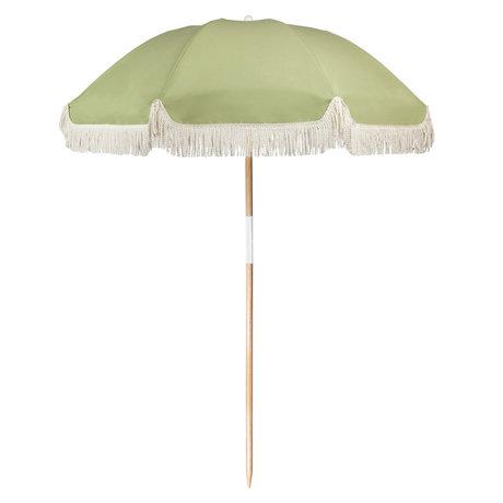LEF collections Parasol beach luxury green cotton wood plastic 170x170x150cm