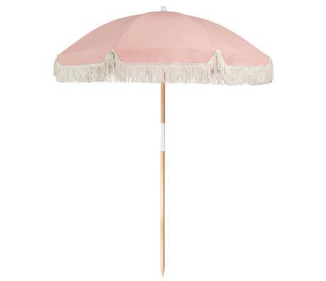 LEF collections Parasol beach luxe roze katoen hout kunststof 170x170x150cm