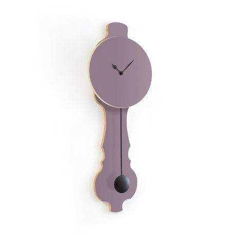 KLOQ Clock Face lavender gray large Deep Black Wood 26.2x8x75.5cm