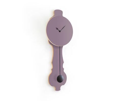 KLOQ Klok Face lavendel grijs small Deep Black Hout 20,4x6x59cm