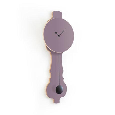KLOQ Clock Face lavender gray small Deep Black Wood 20.4x6x59cm
