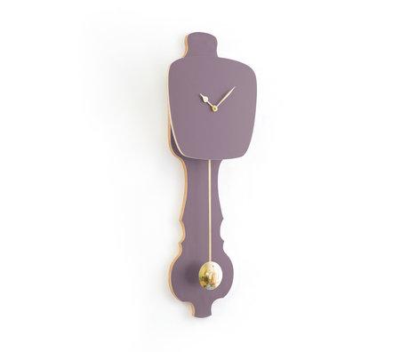 KLOQ Uhr Zifferblatt lavendelgrau groß Shiny Gold Wood 26,2x8x75,5cm