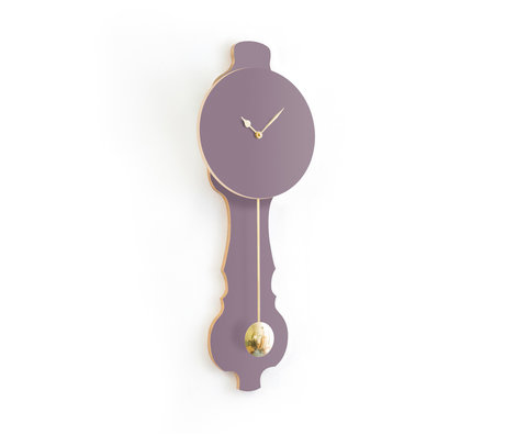 KLOQ Klok Face lavendel grijs small Shiny Gold Hout 20,4x6x59cm