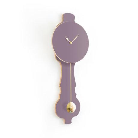 KLOQ Clock Face lavender gray small Shiny Gold Wood 20.4x6x59cm