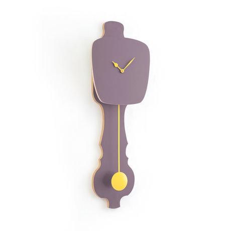 KLOQ Uhr Zifferblatt lavendelgrau klein Pfirsich Pastell Holz 20,4x6x59cm