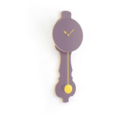 KLOQ Klok Face lavendel grijs large Soft Yellow Hout  26,2x8x75,5cm