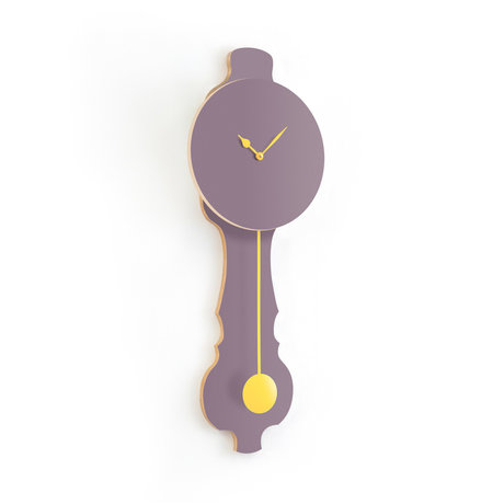 KLOQ Clock Face lavender gray small Soft Yellow Wood 20.4x6x59cm