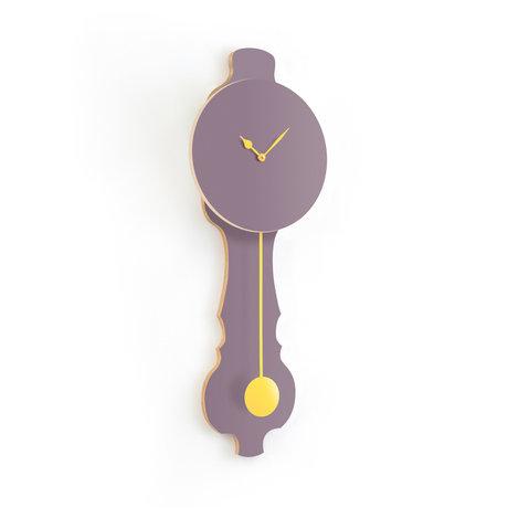 KLOQ Klok Face lavendel grijs small Soft Yellow Hout 20,4x6x59cm