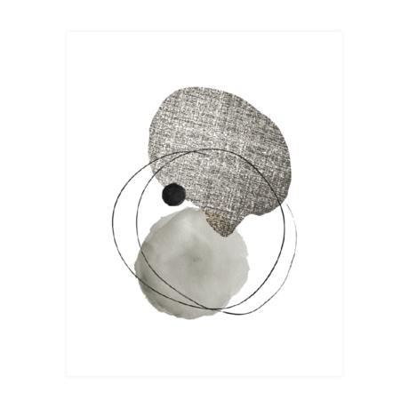 WOOOD Poster Dot Structure Wit Zwart Papier 40x50cm