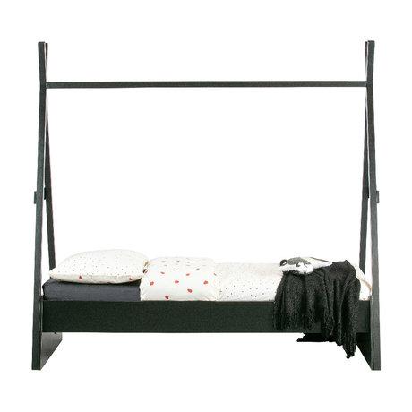 WOOOD Bed Joep Zwart Grenen Hout 212x111x209cm
