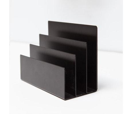 Groovy Magnets Magnetische Tijdschriftenhouder Zwart Gepoedercoat Staal 18x8x13cm