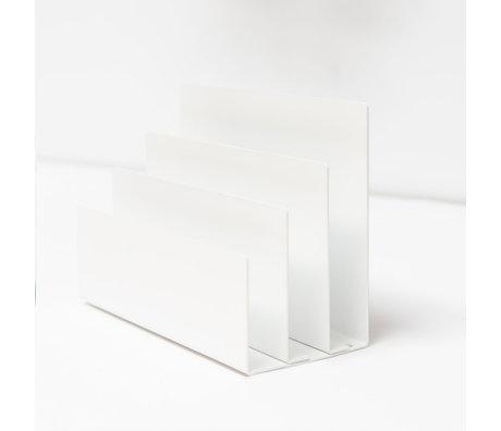 Groovy Magnets Magnetische Tijdschriftenhouder Wit Gepoedercoat Staal 18x8x13cm
