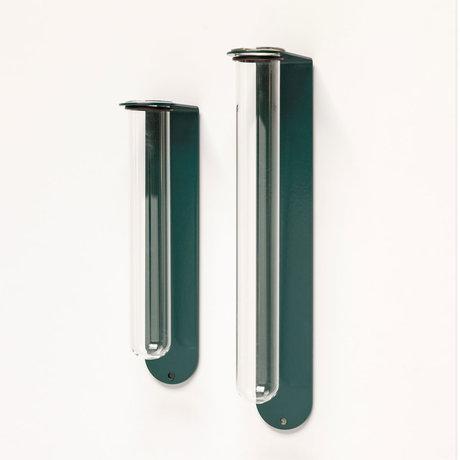Groovy Magnets Magnetisch Bloemenvaasje Small Blauw Glas Gepoedercoat staal 5,1x3,5x16,5cm