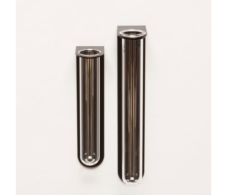 Groovy Magnets Magnetisch Bloemenvaasje Small Zwart Glas Gepoedercoat staal 5,1x3,5x16,5cm