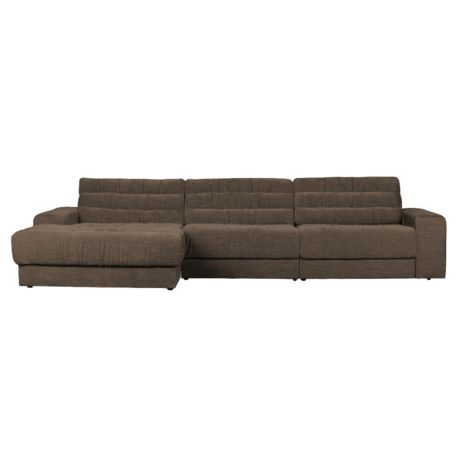 BePureHome Hoekbank Date Vintage Chaise Longue Links Bruin Polyester 316x162x78cm