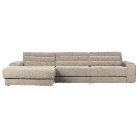 BePureHome Hoekbank Date Vintage Chaise Longue Links Creme Polyester 316x162x78cm