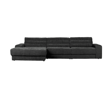 BePureHome Hoekbank Date Vintage Chaise Longue Links Antraciet Polyester 316x162x78cm