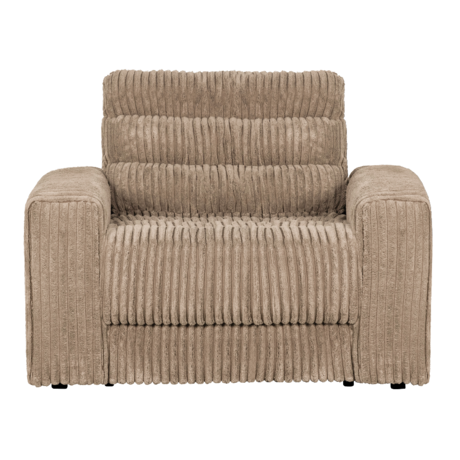 BePureHome Fauteuil Date Rib Licht Bruin Polyester 103x99x78cm