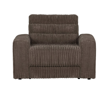BePureHome Fauteuil Date Rib Donker Bruin Polyester 103x99x78cm