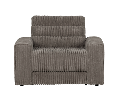 BePureHome Fauteuil Date Rib Grijs Polyester 103x99x78cm