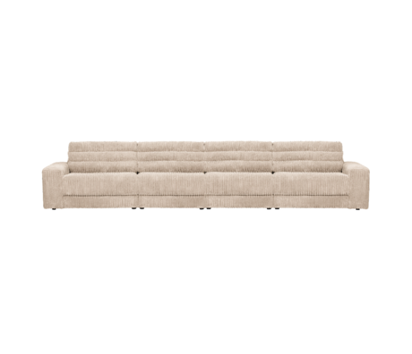 BePureHome Bank Date Rib 4-zits Creme Polyester 406x99x78cm