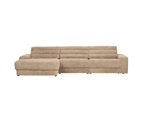 BePureHome Hoekbank Date Rib Chaise Longue Rechts Licht Bruin Polyester 316x162x78cm