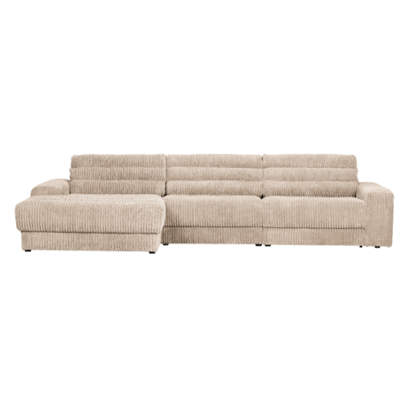 BePureHome Hoekbank Date Rib Chaise Longue Rechts Creme Polyester 316x162x78cm