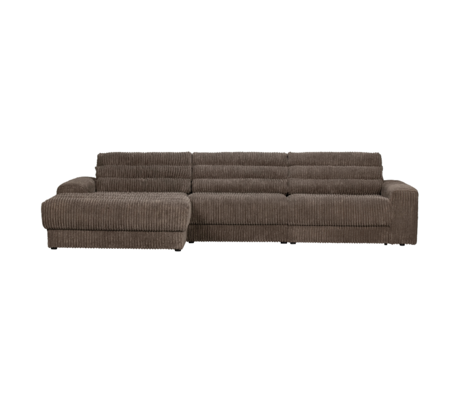 BePureHome Hoekbank Date Rib Chaise Longue Rechts Donker Bruin Polyester 316x162x78cm