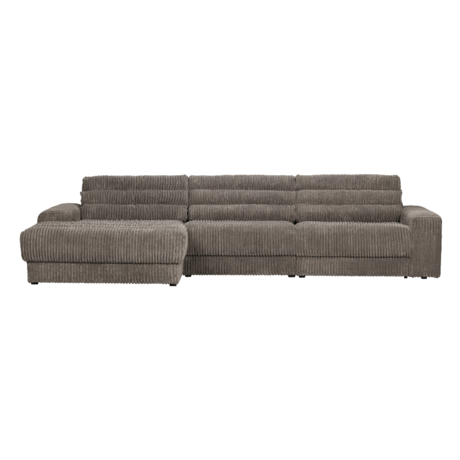 BePureHome Hoekbank Date Rib Chaise Longue Rechts Grijs Polyester 316x162x78cm