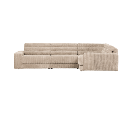 BePureHome Hoekbank Date Rib Rechts Creme Polyester 316x212x78cm