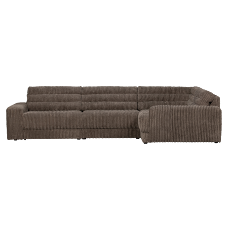 BePureHome Hoekbank Date Rib Rechts Donker Bruin Polyester 316x212x78cm