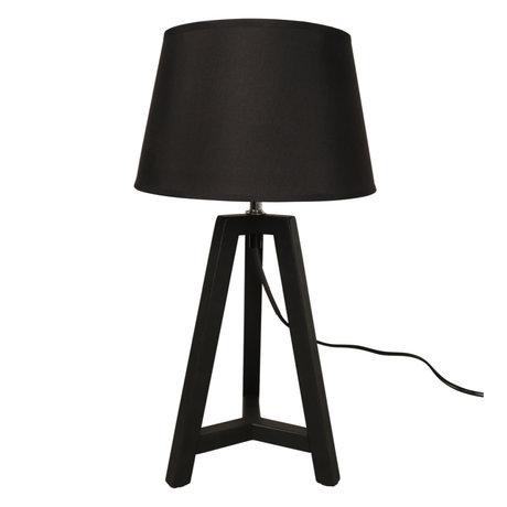 WOOOD Tafellamp Omar Zwart Bamboe Textiel Ø24x44cm