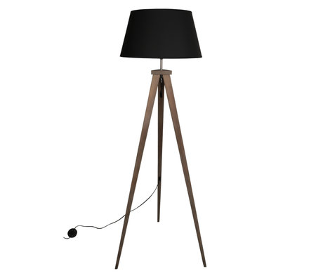 WOOOD Vloerlamp Omar Zwart Bamboe Textiel 60x50x153cm