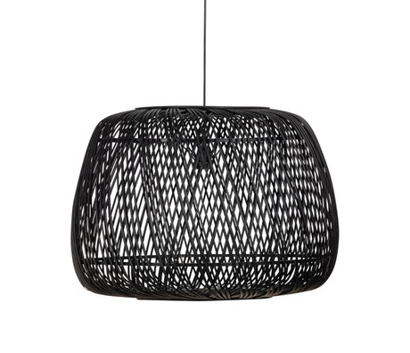 WOOOD Hanglamp Moza Zwart Bamboe Ø70x50cm