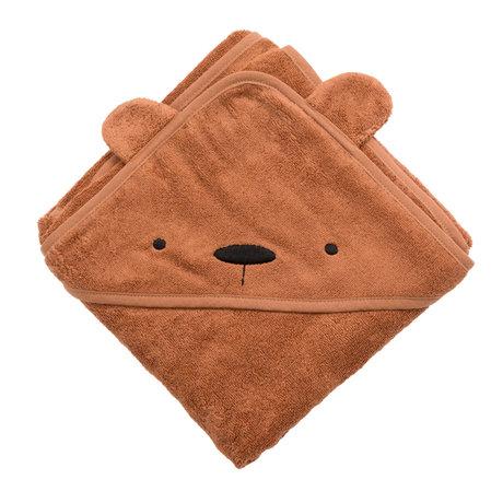 Sebra Badcape Milo The Bear Oranje Bruin Katoen 85x85cm