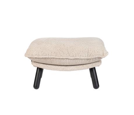 Zuiver Hocker Lazy Sack Teddy créme textiel 78x52x46cm
