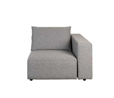 Zuiver Bank element Outdoor Breeze rechts grijs textiel 118x118x86cm