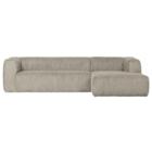 WOOOD Corner Sofa Bean Rib Right Cream Polyester 305x175x73cm